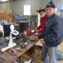 Keith Gooley and Peter Caulder in the Boolcoomatta workshop.